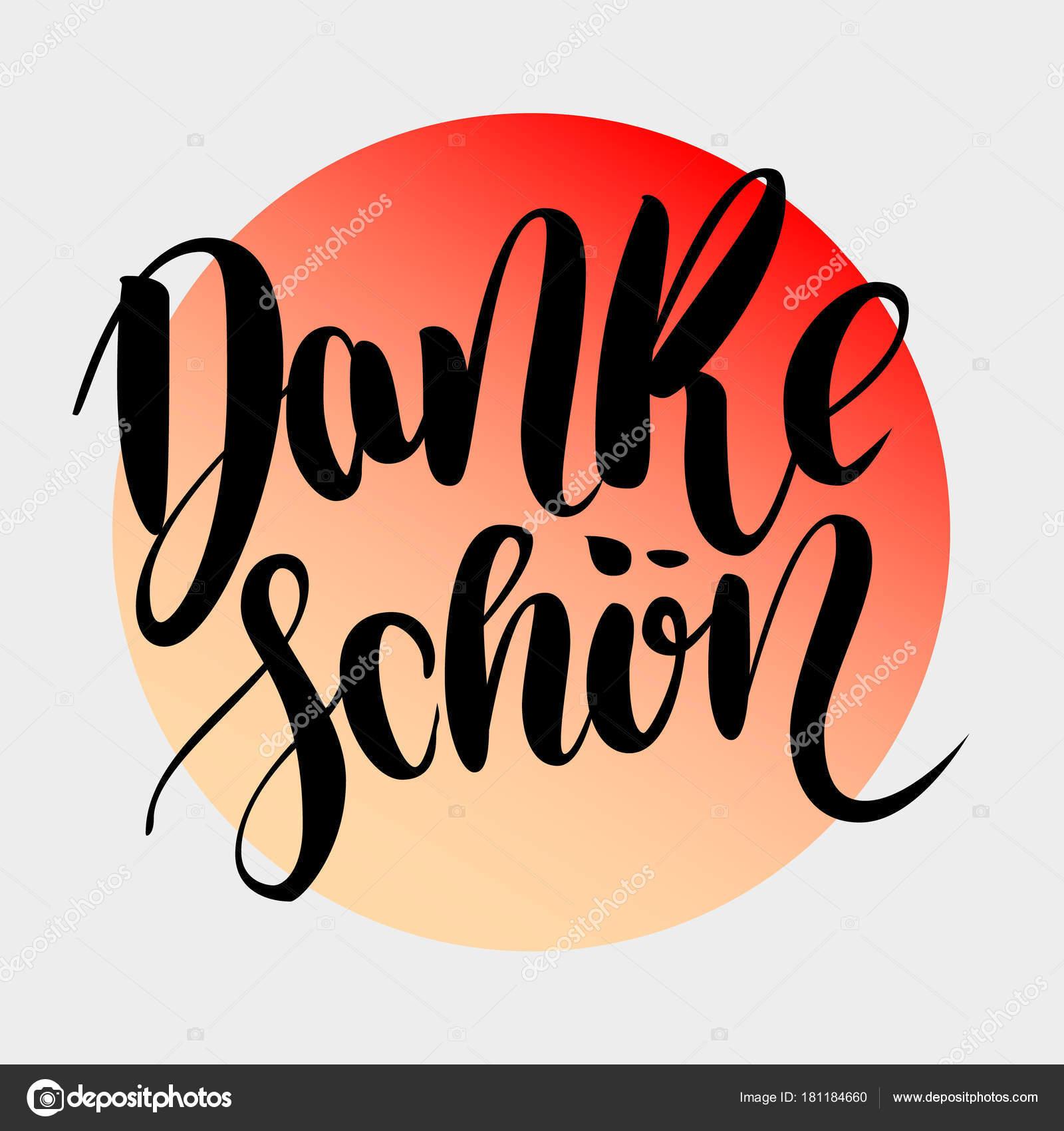 Danke schoen. Muchas gracias en alemán. Mano de vector dibujado ...