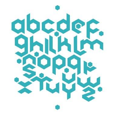 hexagonal futuristic alphabet