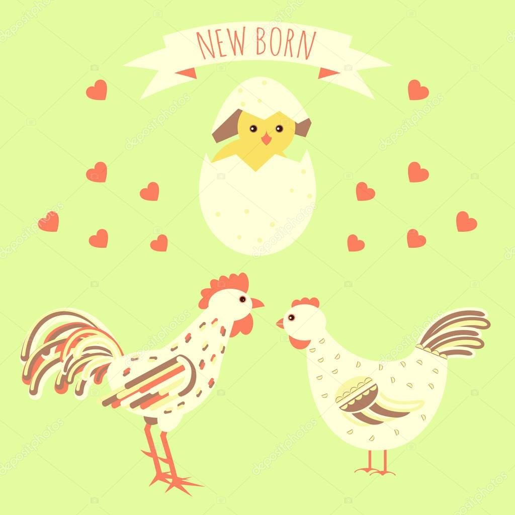gratulationskort för nyfödda gratulationskort med nyfödda kyckling — Stock Vektor © GreenVector  gratulationskort för nyfödda