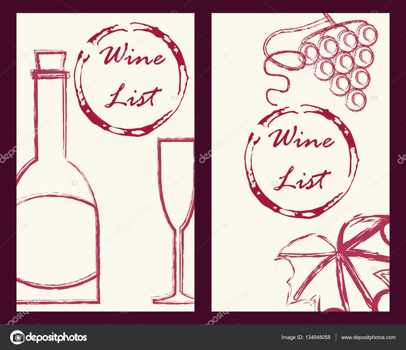 Vin De Voyageur Et Cartes Modle Sertie Raisins Icnes Brunch Feuille Bouteille Verre Style Vintage Illustration Vectorielle Stock Pour Vigne