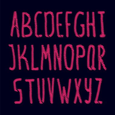 Embroidered english alphabet