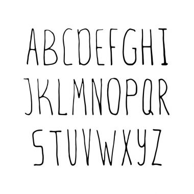 hand drawn simple alphabet
