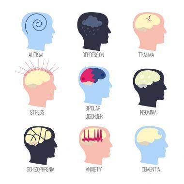 mental disease icon set