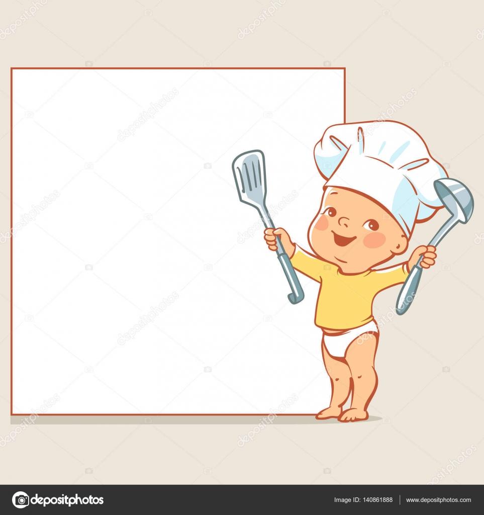 Little chef de bebé en banner — Vector de stock © Natoushe #140861888