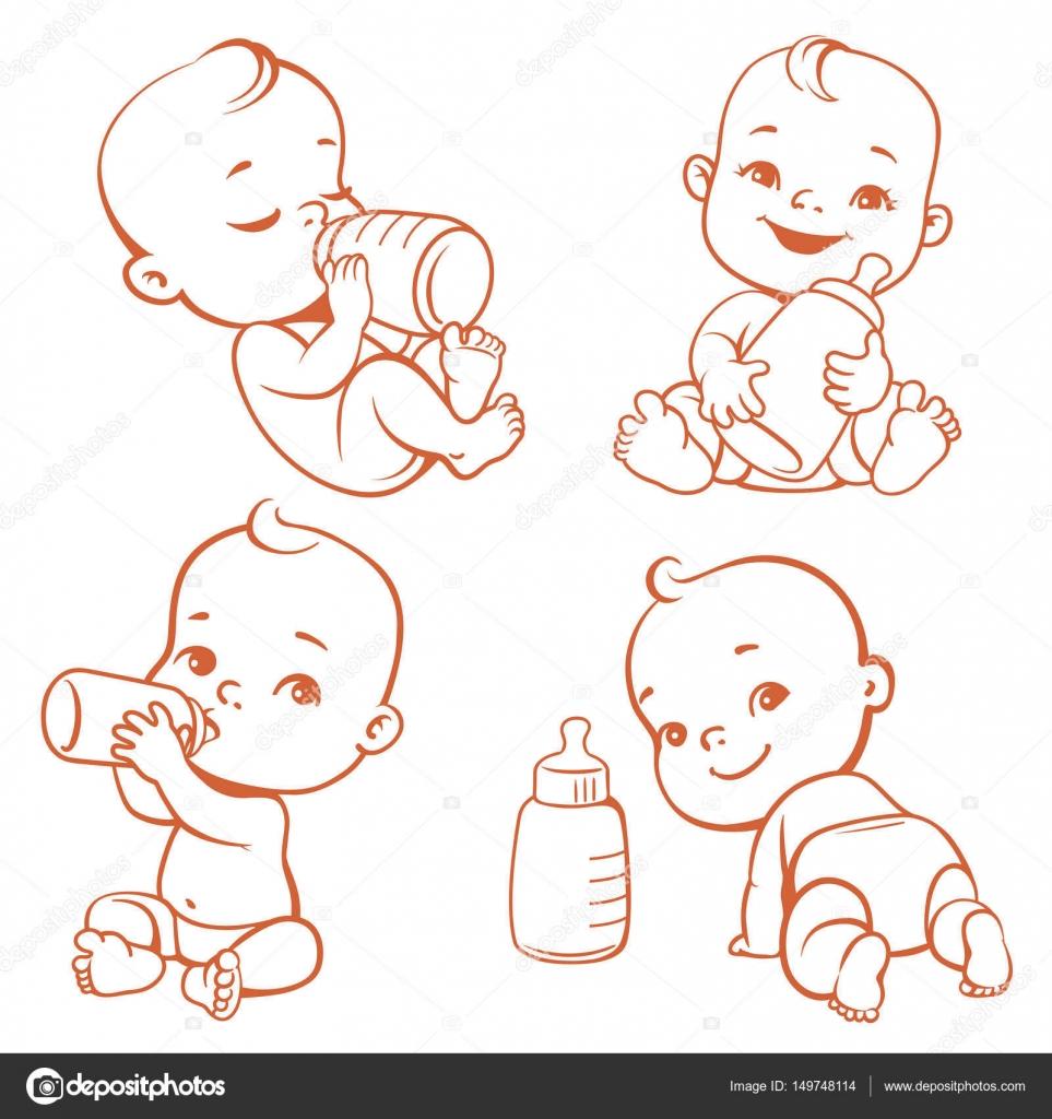 Bebé Con Biberón De Leche Archivo Imágenes Vectoriales