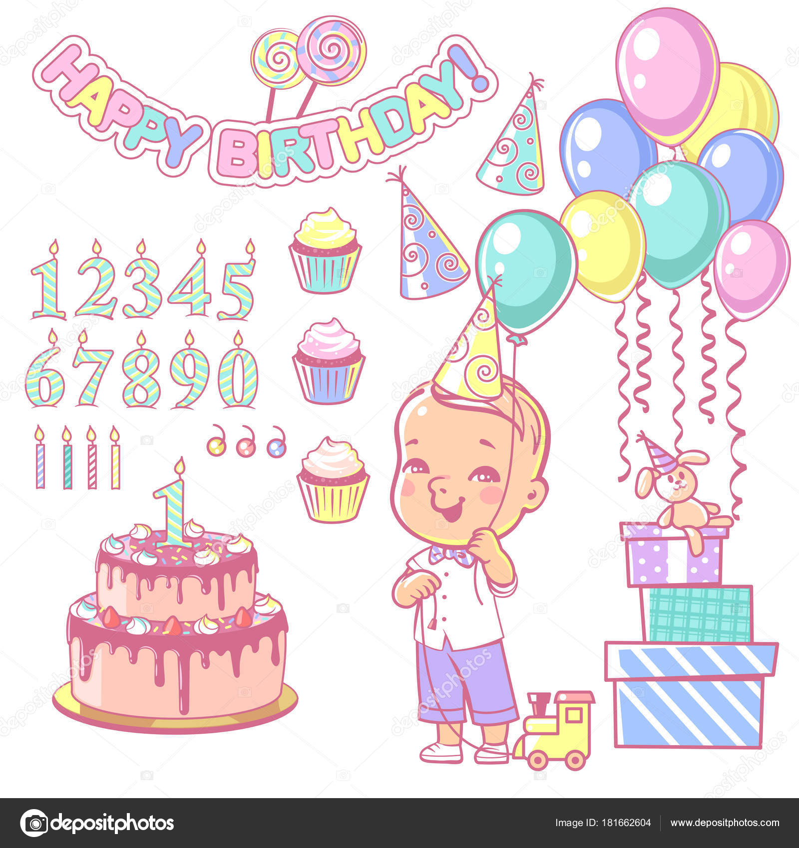 Birthday Party Decoration Set Cake And Cupcakes Constructor With Of Numbers Candles Gifts Garlandair Balloons Design Elements Toddler Boy Wearing