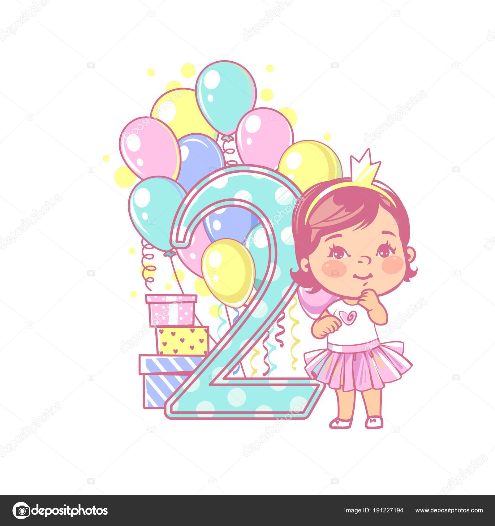 Zwei Jahre Altes Mädchen Stand Der Nähe Großer Nummer Zweiten ...