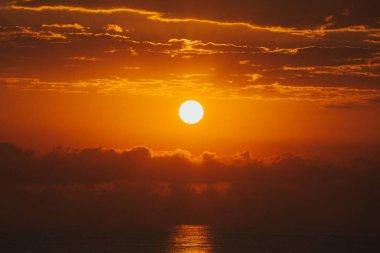 Spectacular sunset on the sea. Valencia Spain stock vector
