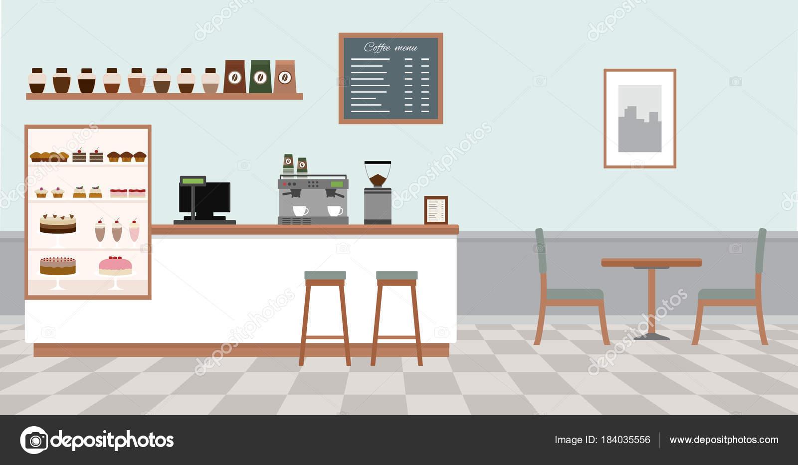 Innere Leere Café Coffee Shop Mit Weißen Bar Theke Tisch ...