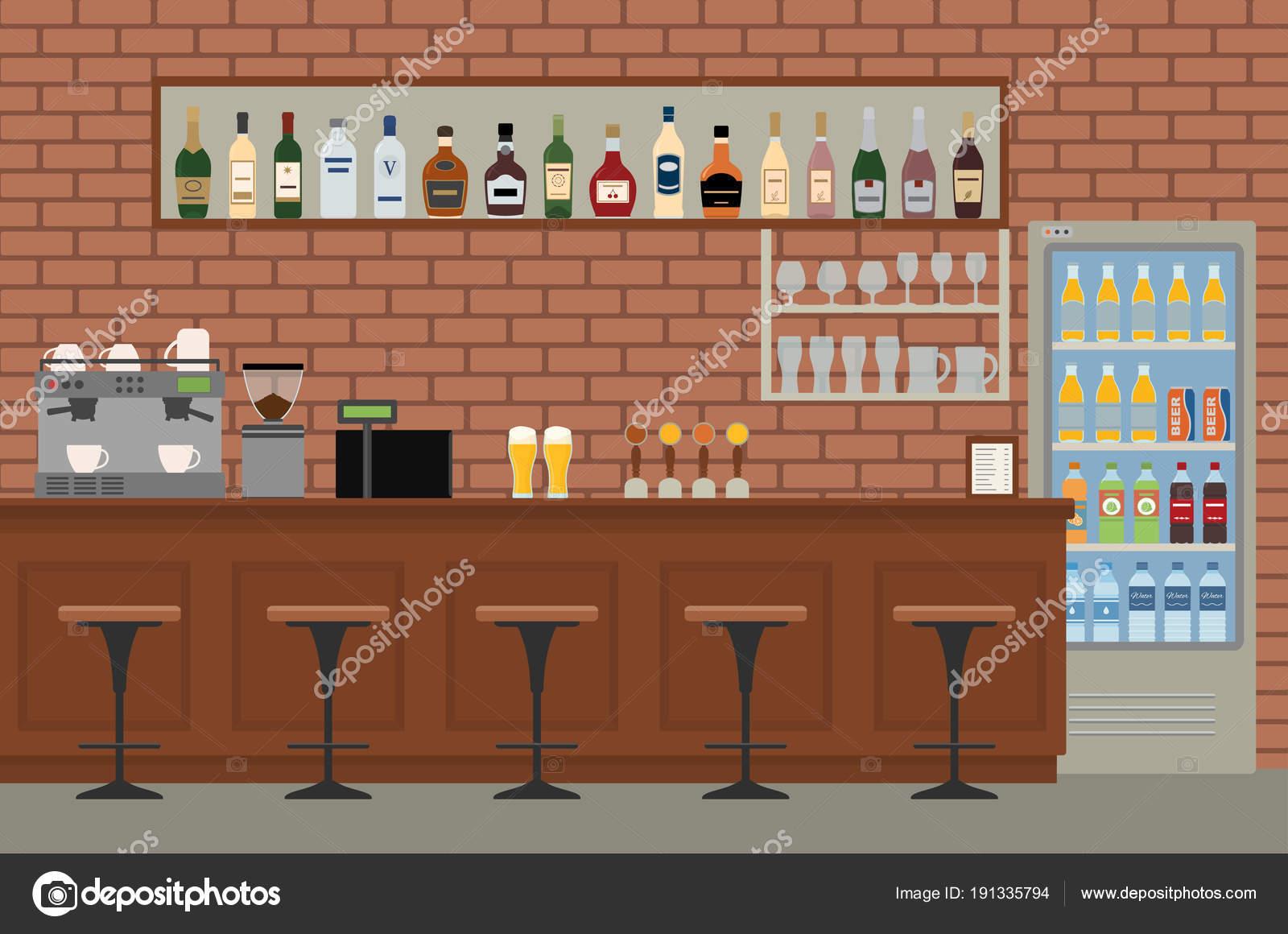 Bancone In Legno Per Pub : Vuoto interiore della barra pub con bancone legno sedie attrezzature