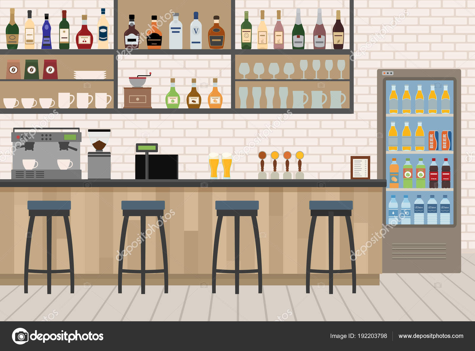 Empty Cafe Bar Interior Wooden Counter Chairs Equipment Flat Design