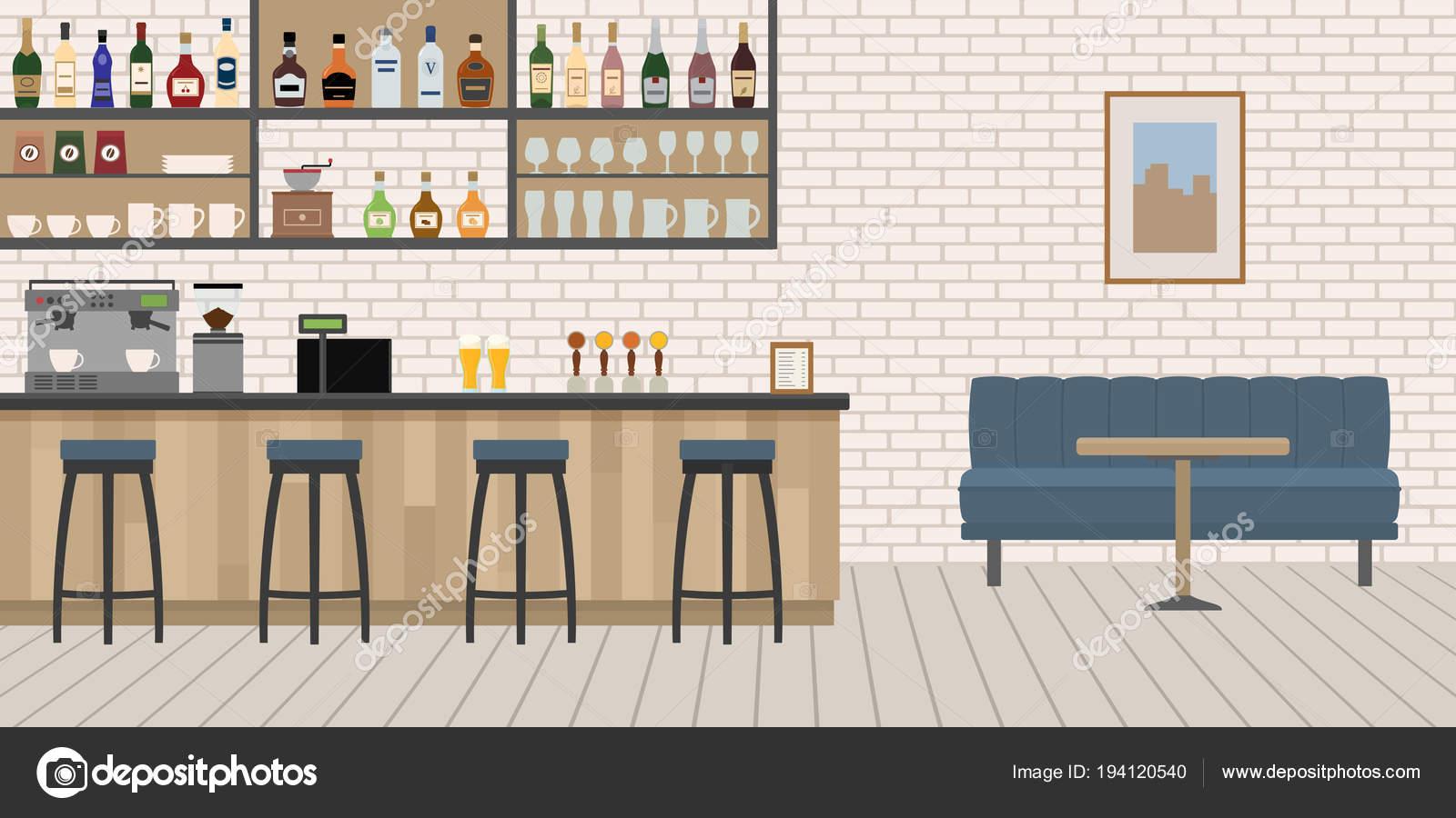 Leer Cafe Bar Einrichtung Mit Hölzernen Theke Stühle Und Ausrüstung
