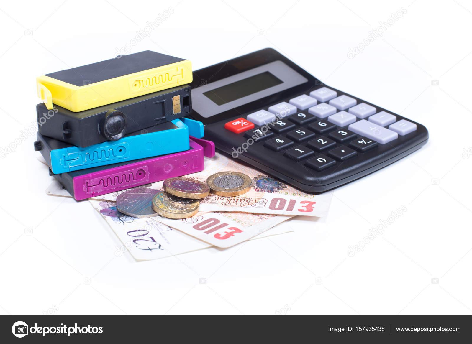 Consumibles para el concepto de costo de la impresora — Foto de ...