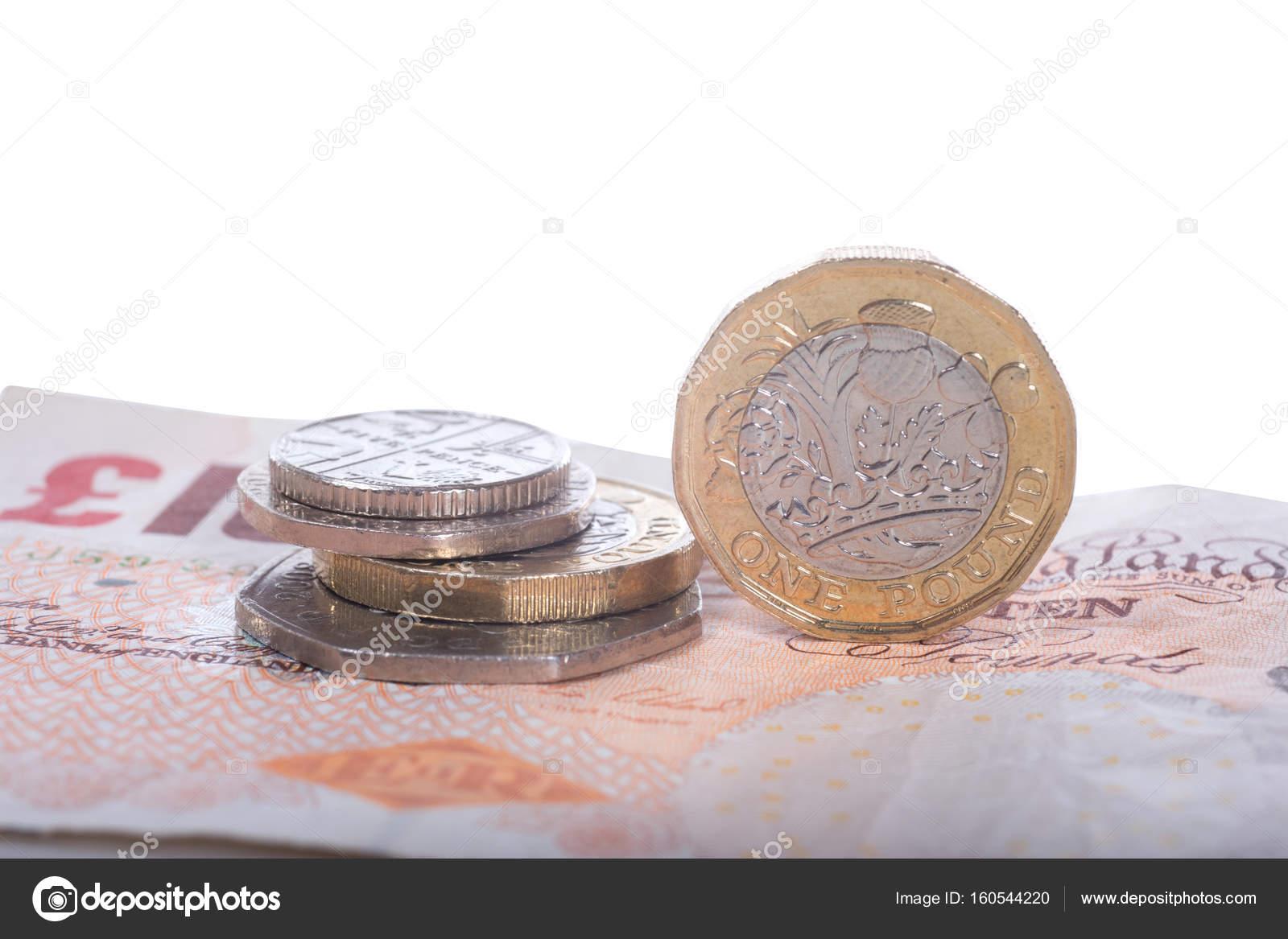 Britische Pfund Banknoten Und Münzen Stockfoto Mattkusb 160544220
