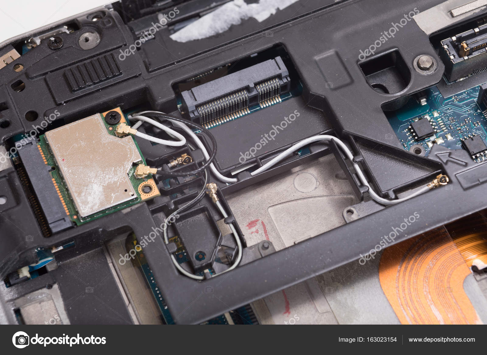 Computer laptop internal wiring and components — Stock Photo