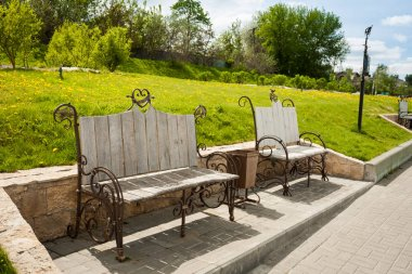 Forged Benches On Embankment Of River Moscow, In Kolomna..