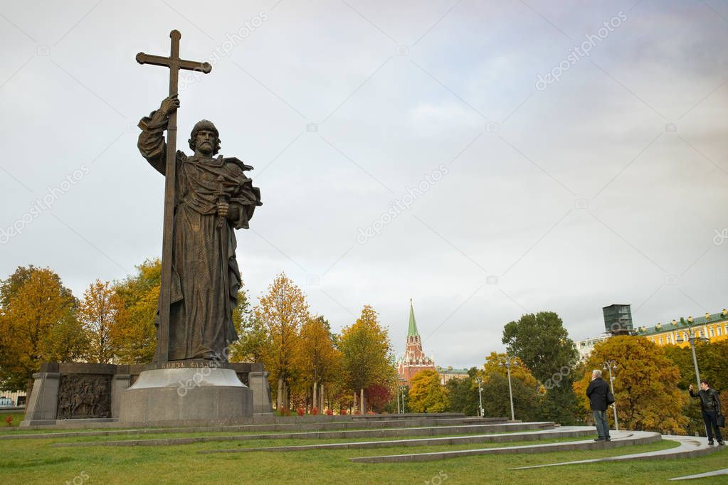 Moscow, Russia - October 12, 2017: Monument To Holy Prince Vladi