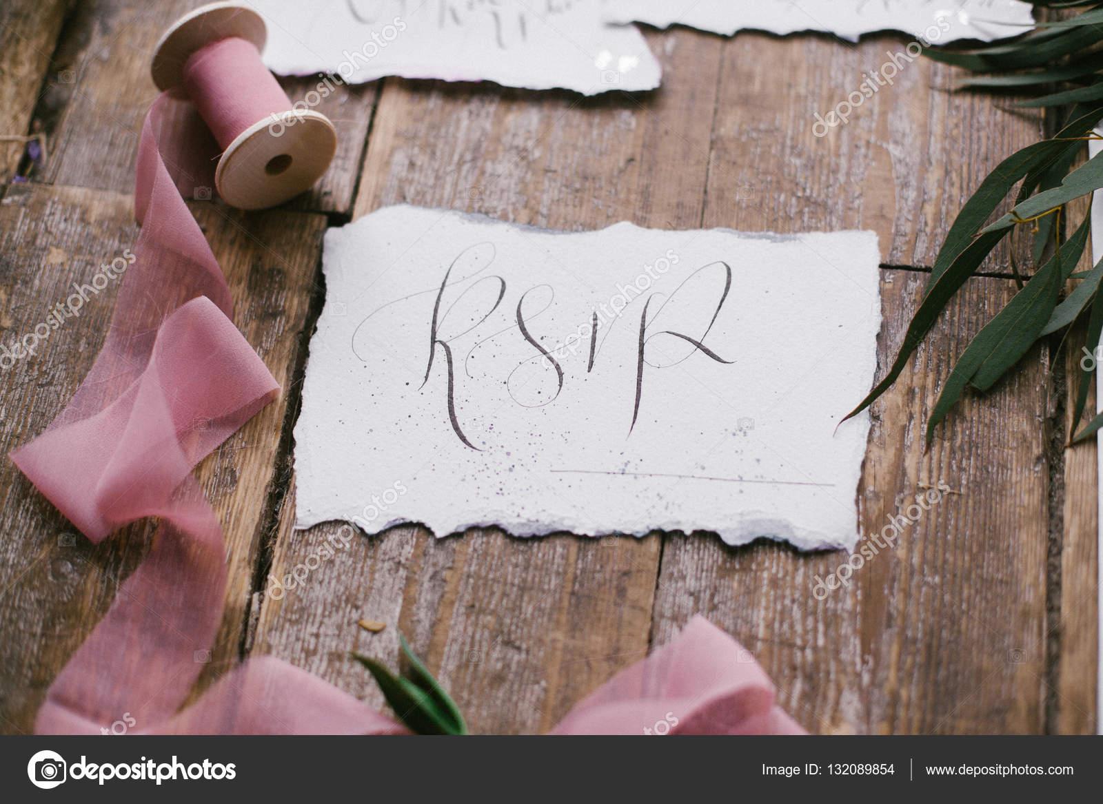Grafik Der Schonen Kalligraphie Hochzeitskarten Mit Rosa Chiffon