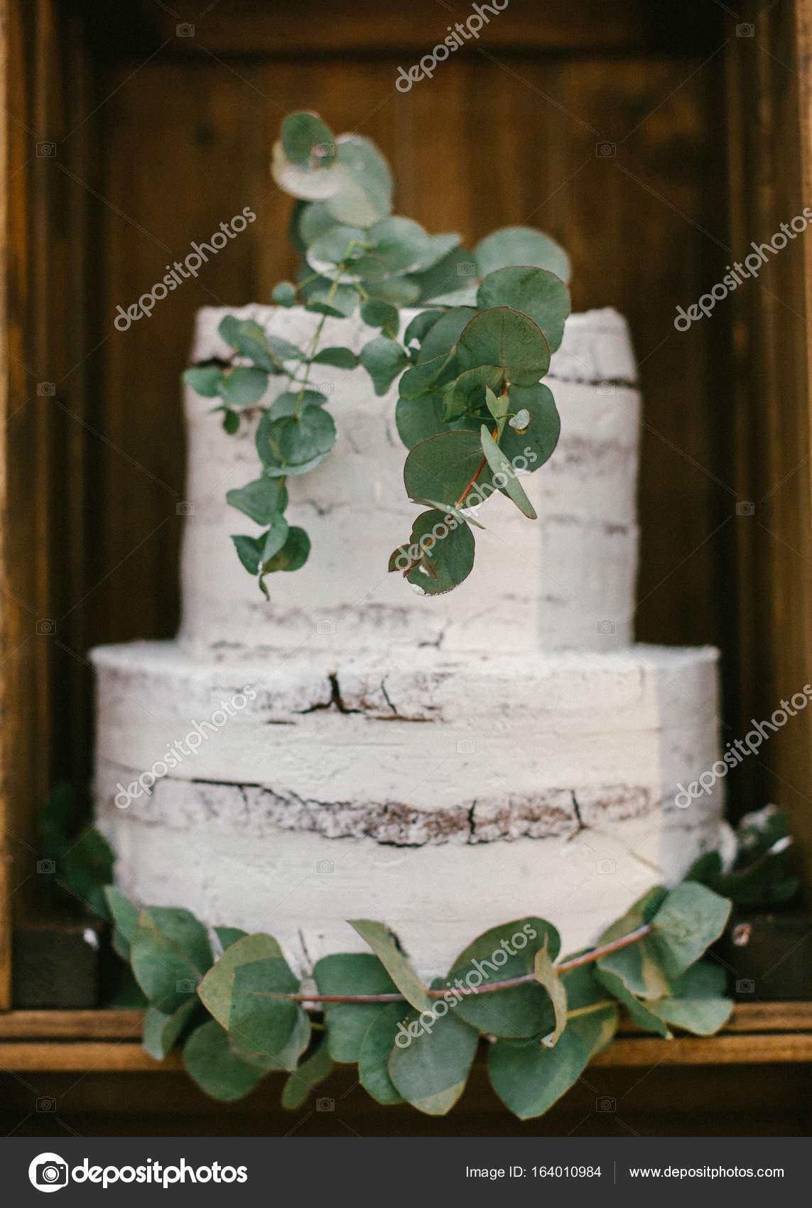 Eine Klassische Abgestufte Baum Stump Hochzeitstorte Mit Eukalyptus