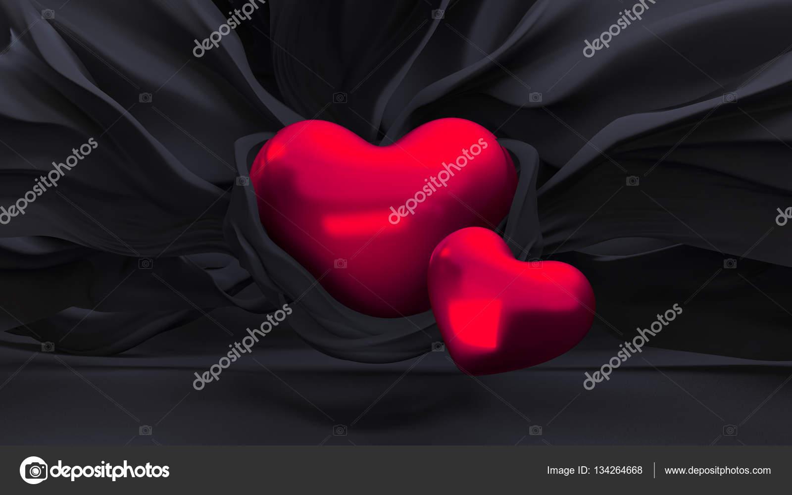 Elegante Sfondo Nero Con Un Cuore Rosso Foto Stock Navekimaria