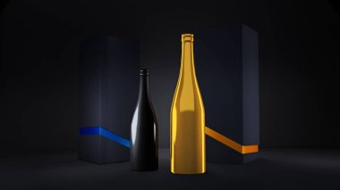 Luxury festive background with a bottle of champagne and elite b