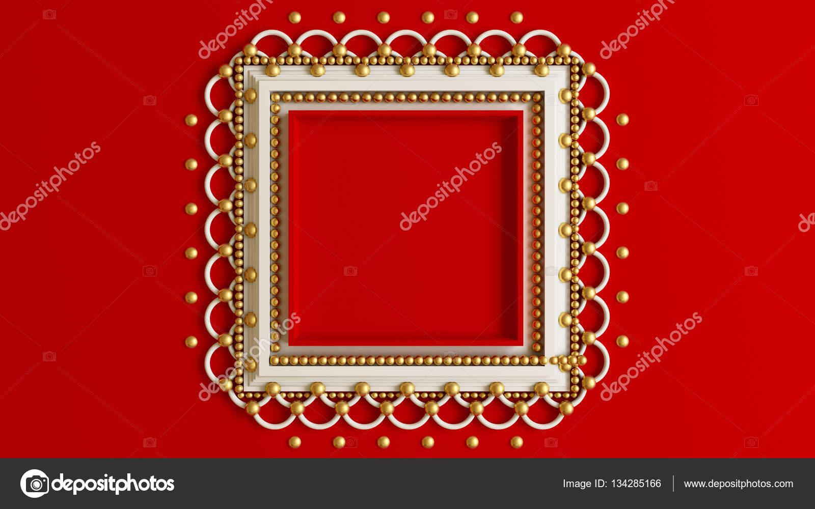 Roten Hintergrund mit einem schönen Rahmen an der Wand in die ...