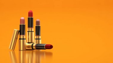 Lipstick on a yellow background. The tube, bottle, style, makeup, lips, beauty, make-up, facials. Cosmetics.