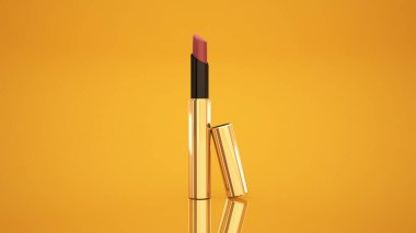 Lipstick on a yellow background. Bottle, lipstick, accessory, style, makeup, lips, beauty, make-up, facials, packing. Cosmetics.