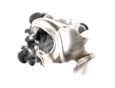 Black gray smoke on a white background. 3d rendering, 3d illustration.