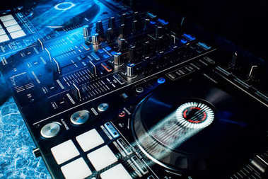 Modern professional equipment for DJ to mix music