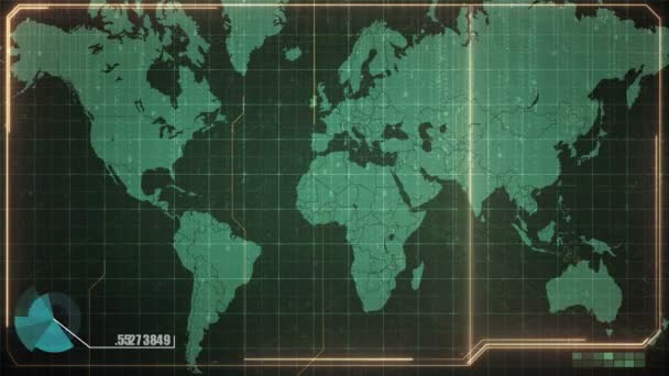 Animation of online trading concept with world map background