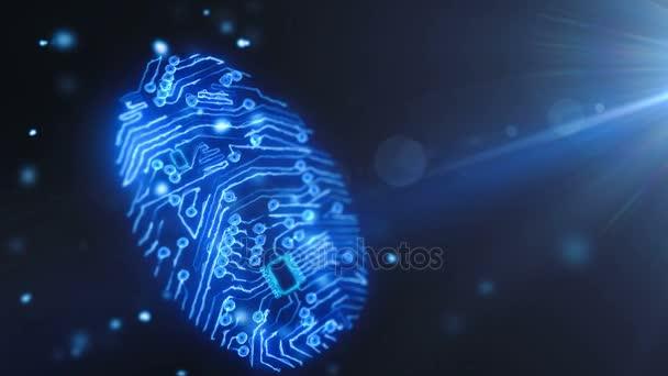 Animace, čip finger tisk konceptu. Nejnovější technologie přístup přes skener otisků prstů. Otisků prstů pro zabezpečený přístup