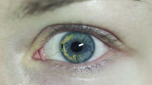 Koncept video. Kontaktní čočky s čip uvnitř