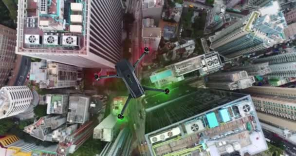 AERIAL. Animation of drone quad copter with high resolution digital camera flying over the Hong Kong city