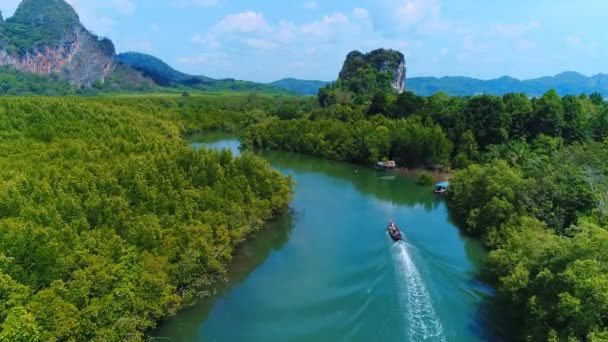 Thailand Aerial Landscape Drone View Of River In Green Tropical Forest Beautiful Nature Scenery