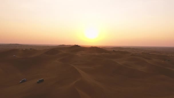 AERIAL. Top view of sunset over the dunes of Liwa desert in Abu Dhabi
