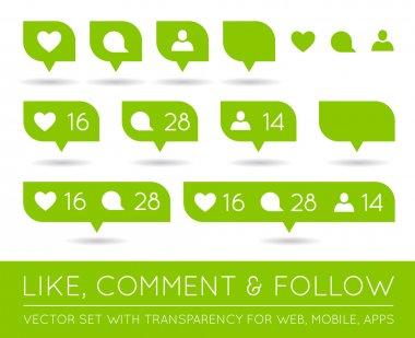 Vector Like, Follower, Comment