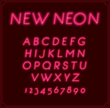 Neon Font Type Alphabet. Glowing