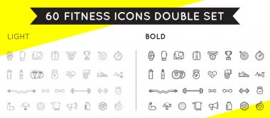 Set of Thin and Bold Vector Fitness Aerobics Gym Elements