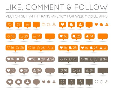 Vector Like, Follower, Comment
