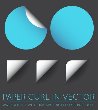 Vector Stickers with Paper Curl