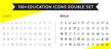 Set of Thin and Bold Vector Education Icons
