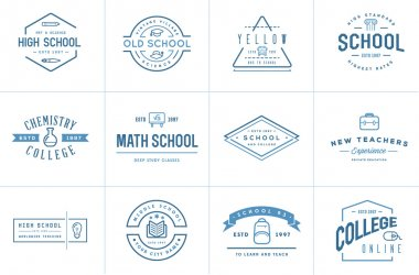 Set of Vector School or College Identity Elements