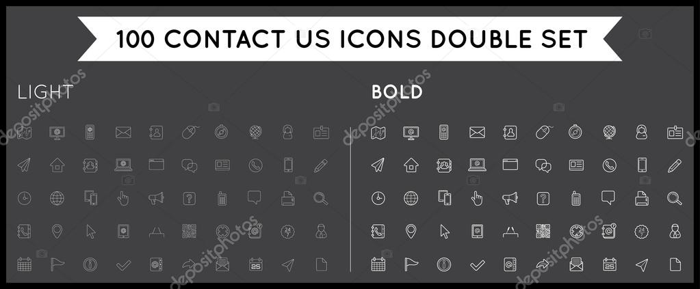 Set of Thin and Bold Contact us Service Elements