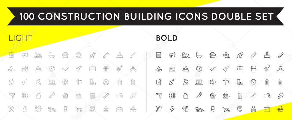 Set of Thin and Bold Vector Construction Building Icons