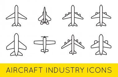 Aircraft or Airplane Icons Set Collection Vector Silhouette Set Colletion stock vector