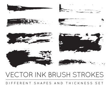 Set of Vector Pen Ink Brush Strokes