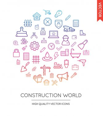 Vector Set of Construction Modern Flat Thin Icons