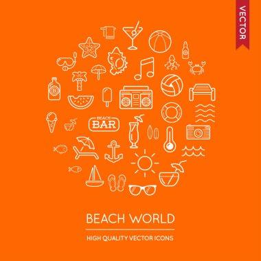 Beach Modern Flat Thin Icons