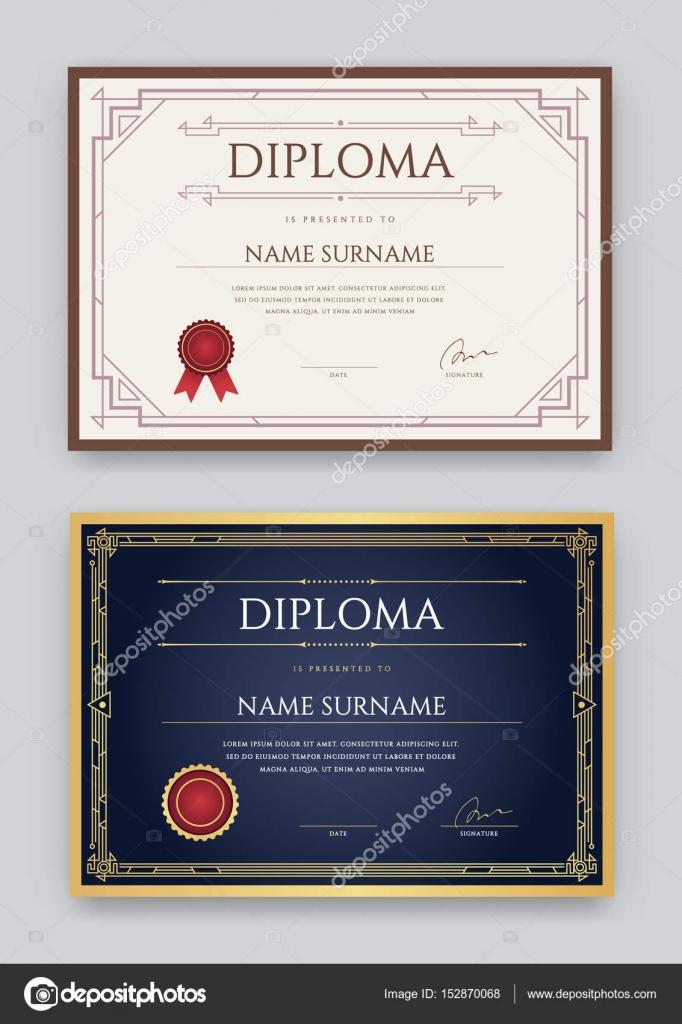 Satz von Diplom oder Zertifikat Vorlage — Stockvektor © ckybe #152870068